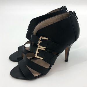 Aldo Black Buckle Ankle Strap Leather Heels 6.5